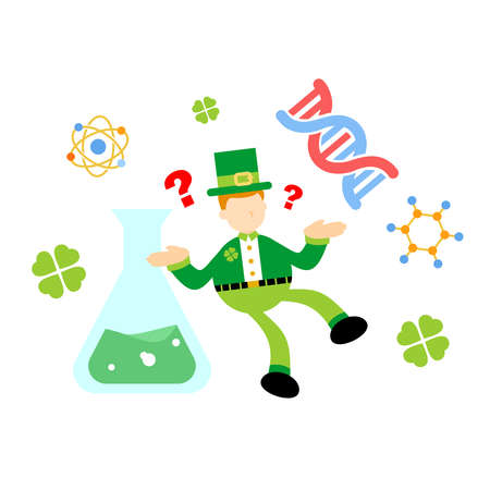 leprechaun shamrock celtic and experiment genetic laboratory double helix research science cartoon doodle flat design style vector illustration