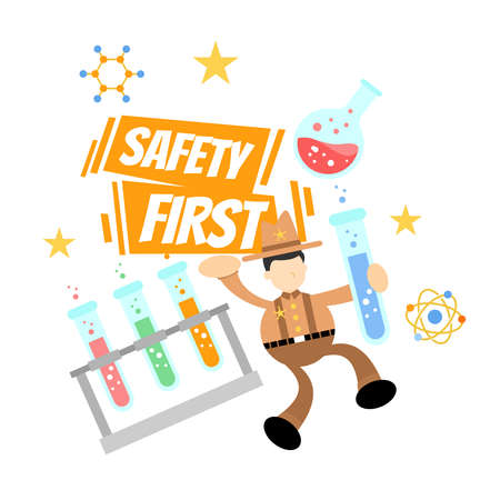 cowboy america and safety experiment laboratory flask research science cartoon doodle flat design style vector illustration