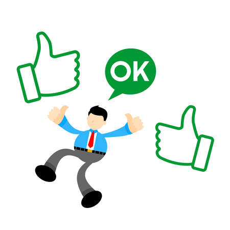 businessman worker give a thumbs up icon cartoon doodle flat design style vector illustration