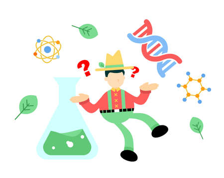 farmer man agriculture and experiment genetic laboratory double helix research science cartoon doodle flat design style vector illustration