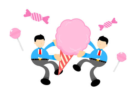 businessman worker and sweet cotton candy cartoon doodle flat design style vector illustration