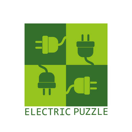 green puzzle cable electrical game concept design vector illustration