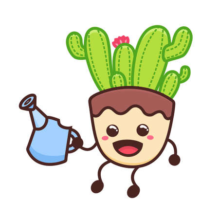 Cute succulent or cactus plant watering with happy face cartoon doodle vector illustration