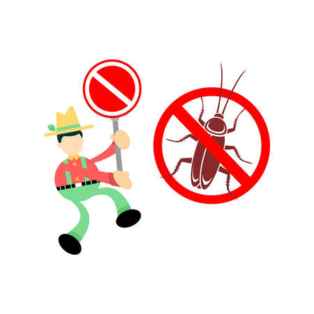 farmer man agriculture chase away stop Cockroach pest insect cartoon doodle flat design style vector illustration