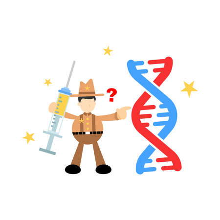 cowboy america research genetic heredity double helix structure part cartoon doodle flat design style vector illustration