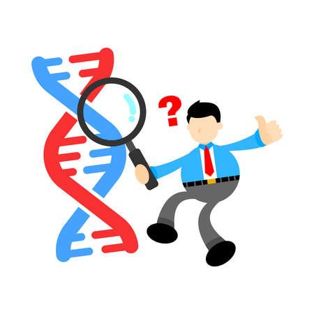 businessman worker research genetic heredity double helix structure part cartoon doodle flat design style vector illustration Vektorgrafik