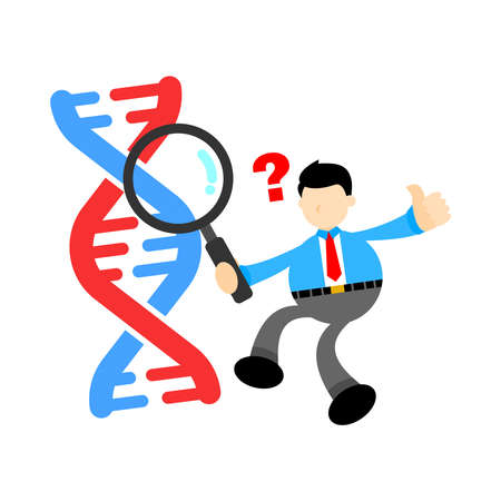businessman worker research genetic heredity double helix structure part cartoon doodle flat design style vector illustration Vector Illustration