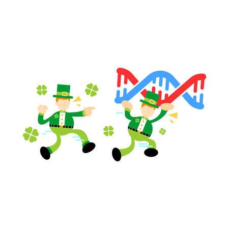 leprechaun shamrock celtic research genetic heredity double helix structure part cartoon doodle flat design style vector illustration Vector Illustration
