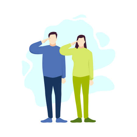 Man and woman salute respect gesture people character vector illustration flat design Vektorové ilustrace