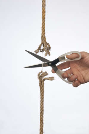 frayed: cutting a rope with a knife