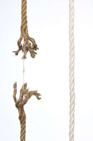 fray: Frayed rope on a white background