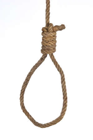 capital punishment: Loop of rope on white background