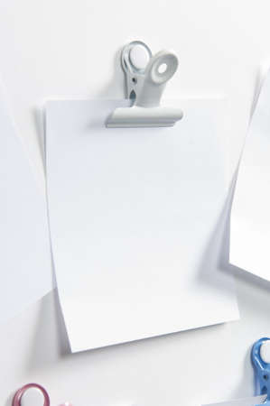 paper pin: Blank post hanging on the wall with a forceps Stock Photo