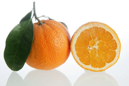cholesterol free: Oranges on a white background Stock Photo