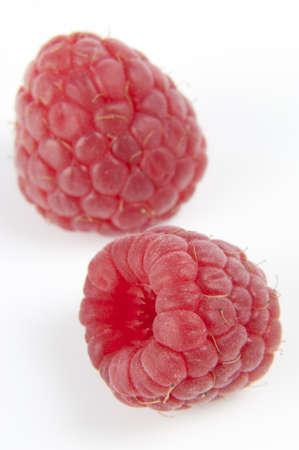 cholesterol free: Raspberries on white background Stock Photo