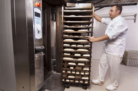 Baker makes the bread kneaded in the oven Banco de Imagens - 12881743