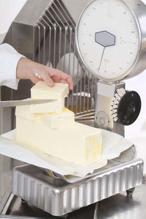 Pastry chef butter weighs in the balance