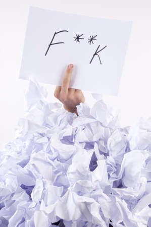 finance a helping hand confusion: Businessman overwhelmed by the paper uses the language of signs Stock Photo