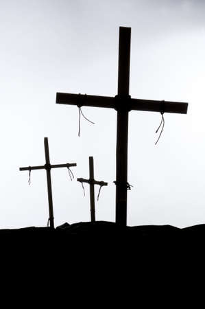 Shadow and silhouette of the crucifixion on a white background Banco de Imagens - 13059280