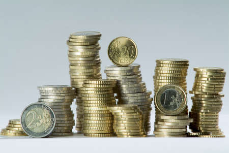 20 euro: A number of Euro Coins in column