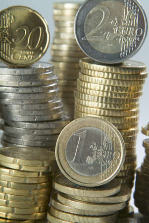 A number of Euro Coins in column photo