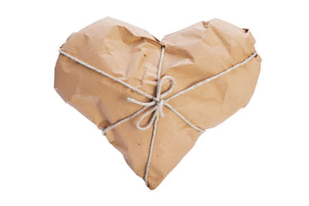 Heart wrapped with brown paper and string Stock Photo - 16759875