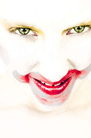 artistic portrait of a little girl with face painted as a clown vindictive Stock Photo - 18393272