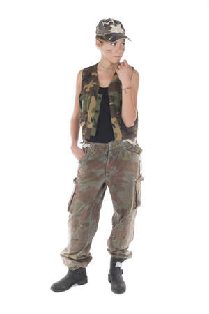 Studio portrait of a Model dressed as a military mercenary photo
