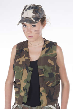 army girl: Studio portrait of a Model dressed as a military mercenary