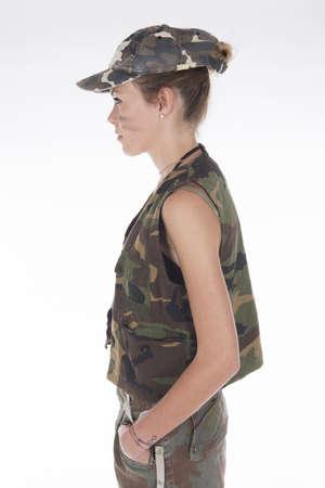 arrogant teen: Studio portrait of a Model dressed as a military mercenary