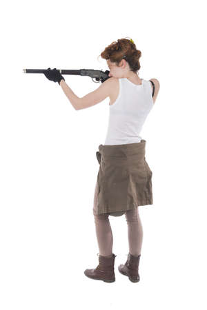 Studio shots of a young woman with rifle Stock Photo - 20925597