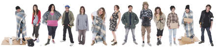 uncoordinated: Studio shots of a group of homeless young people Gypsies and drunks Stock Photo