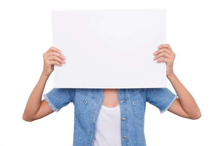 cartel: Blonde Girl holding a blank signboard front of her face