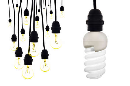compared: A lamp with low consumption compared to numerous tungsten bulbs