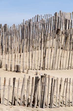 camargue: Fences on the beach Espiguette in Camargue France