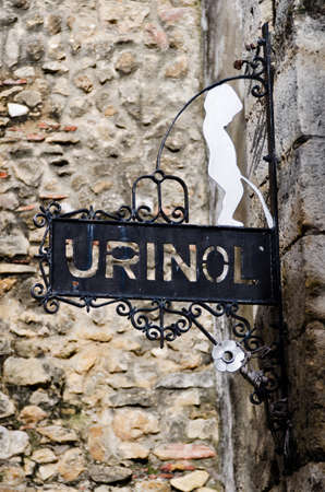hygien: Sign for public urinal in the Alfama district, Lisbon. Portugal