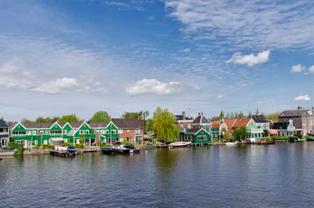 zaandam: Typical buildings on the water cannel, at Zaanse Schans, Amsterdam, Holland