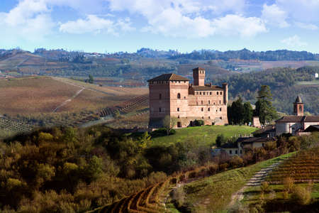 cavour: Grinzane Cavour, Italy - October 23, 2014: Autumnal view of the Castle of Grinzane Cavour Unesco heritage in the territory of the Langhe Piedmont Italy