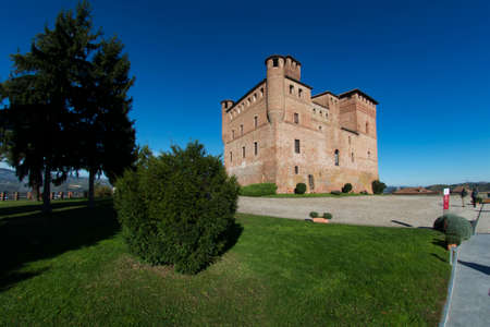 cavour: Grinzane Cavour, Italy - October 23, 2014: View of the Castle of Grinzane Cavour Unesco heritage in the territory of the Langhe Piedmont Italy Editorial