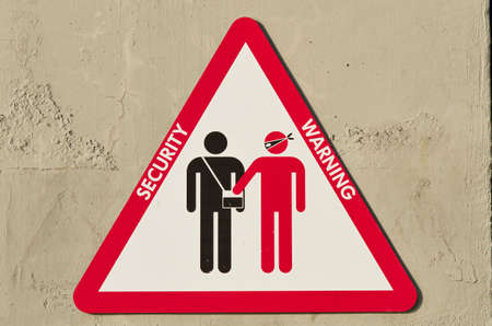 pickpocket: triangular sign to warn about the risk of being robbed by skilled pickpockets Stock Photo