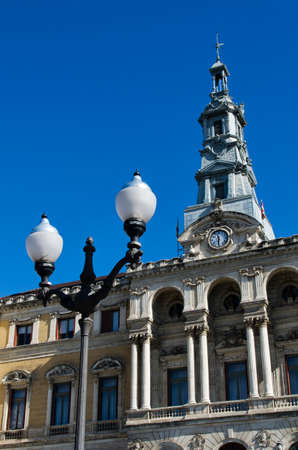 bilbo: Detail of the City Hall Bilbao, Biscay, Spain, Europe, In front of a clear blue sky Stock Photo