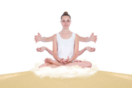 thoughtless: Multitasking girl in yoga positions on a sand dune, below her an energy cloud releases energy kicking up dust
