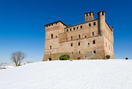 Grinzane Cavour, Italy - March 3, 2016: Winter view of the Castle of Grinzane Cavour, Piedmont, Italy. Editorial