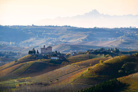 Grinzane Cavour, Italy - November 12, 2016: Vineyards of Langa Piedmont Italy, seen on the castle of Grinzane cavour, on the bottom of the Monviso Mountain