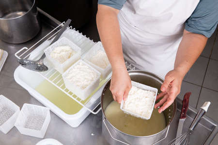 Cheesemaker pours the curdled milk into plastic forms to shape the cheese Stok Fotoğraf - 131601763