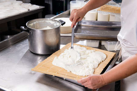 Cheesemaker puts fresh cheese on the rush for a typical process Banco de Imagens
