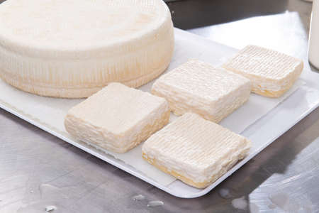 Fresh cheese on tray ready for seasoning Stok Fotoğraf