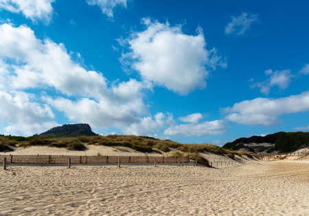 Access to the beach of Cala Mesquida Majorca Spain, alongside the reserve of sand dunes Banco de Imagens