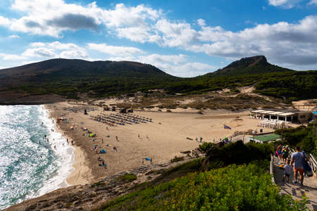 Mallorca, Spain, August 16, 2019: early morning view of the beach of Cala Mesquida Majorca Spain