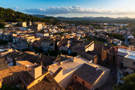 Capdepera, Mallorca, Spain, August 14 2019: Sunset view from the castle on the town of Capdepera, Majorca
